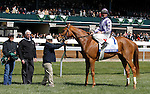 LEXINGTON, KY - APRIL 09: #1 Weep No More, jockey Corey Lanerie and connections after winning the 79th running of the Central Bank Ashland (Grade 1) $500,000 at Keeneland race course for owner Ashbrooke Farm (Glenn Bromagen) and trainer George Arnold II.  April 9, 2016 in Lexington, Kentucky. (Photo by Candice Chavez/Eclipse Sportswire/Getty Images)