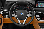 Car pictures of steering wheel view of a 2021 BMW 5-Series Luxury 5 Door Wagon Steering Wheel