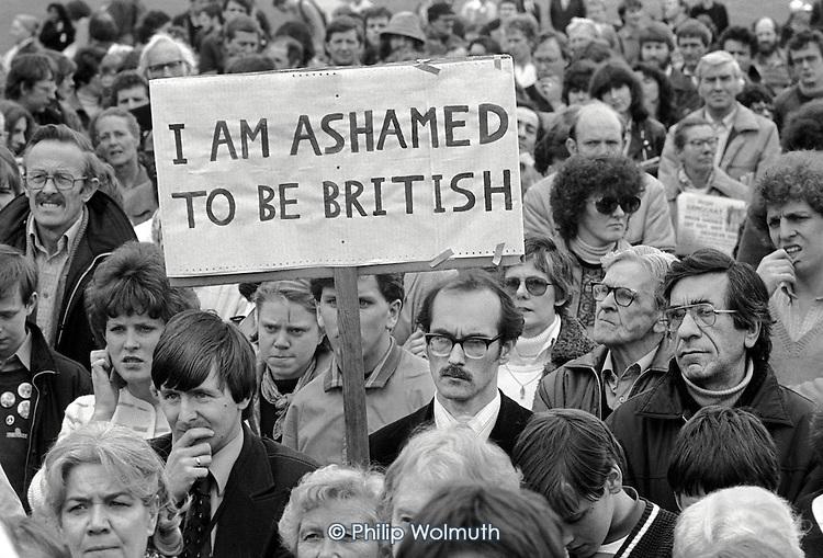 Demonstration against the Falklands war, Hyde Park, London.