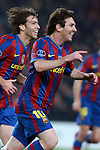 Barcelona's Lionel Messi celebrates during match. March 17, 2010. (ALTERPHOTOS/Tati Quinones)
