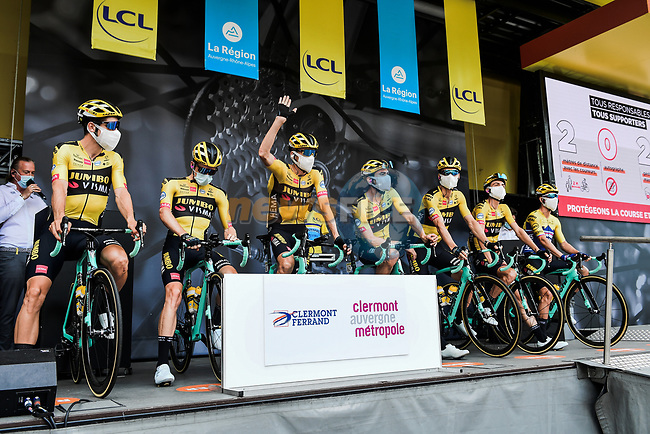 Team Jumbo-Visma at the Team Presentation before the start of Stage 1 of Criterium du Dauphine 2020, running 218.5km from Clermont-Ferrand to Saint-Christo-en-Jarez, France. 12th August 2020.<br /> Picture: ASO/Alex Broadway | Cyclefile<br /> All photos usage must carry mandatory copyright credit (© Cyclefile | ASO/Alex Broadway)