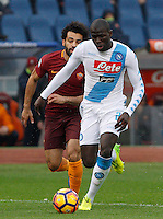Napoli's Kalidou Koulibaly, right, is chased by Roma's Mohamed Salah during the Italian Serie A football match between Roma and Napoli at Rome's Olympic stadium, 4 March 2017. <br /> UPDATE IMAGES PRESS/Riccardo De Luca