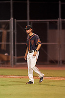 AZL Giants Black manager Michael Johnson (1) walks toward the mound during an Arizona League game against the AZL Giants Orange on July 19, 2019 at the Giants Baseball Complex in Scottsdale, Arizona. The AZL Giants Black defeated the AZL Giants Orange 8-5. (Zachary Lucy/Four Seam Images)