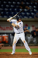Pensacola Blue Wahoos Shrimp third baseman Mitch Nay (28) at bat during a game against the Jacksonville Jumbo on August 15, 2018 at Blue Wahoos Stadium in Pensacola, Florida.  Jacksonville defeated Pensacola 9-2.  (Mike Janes/Four Seam Images)