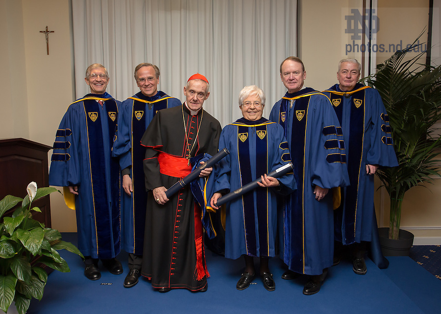 Jan. 27, 2014; The University of Notre Dame conferred an honorary Doctor of Laws degree on His Eminence Jean-Louis Cardinal Tauran and Maria Voce at the Notre Dame Rome Centre.<br /> <br /> Photo by Matt Cashore/University of Notre Dame