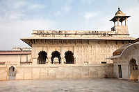 Agra, India.  Agra Fort, Khas Mahal (Private Palace), previously serving as a drawing room or perhaps as the emperor's sleeping quarters.