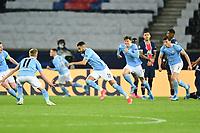 Riyad Mahrez (Man City) celebrates with team mates after scoring a goal <br /> Paris  28/04/2021 <br /> Paris Saint Germain PSG - Manchester City  <br /> semifinal 1st leg<br /> Champions League 2020/2021<br /> Photo JB Autissier / Panoramic / Insidefoto <br /> Italy Only
