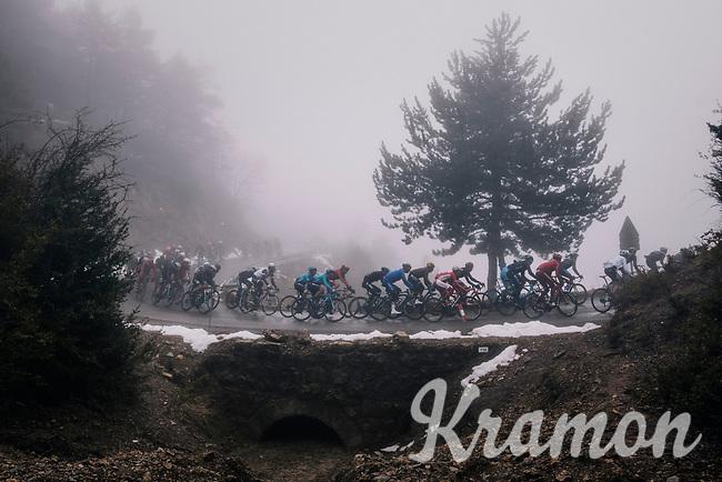 peloton in the mist<br /> <br /> 76th Paris-Nice 2018<br /> Stage 7: Nice > Valdeblore La Colmiane (175km)