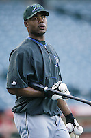 Carl Crawford of the Tampa Bay Devil Rays before a 2002 MLB season game against the Los Angeles Angels at Angel Stadium, in Los Angeles, California. (Larry Goren/Four Seam Images)