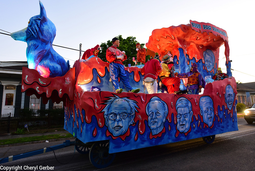 The Chaos parade and its satirical floats get ready to roll in New Orleans on Thursday, Feb. 23, 2017. (AFP/CHERYL GERBER)