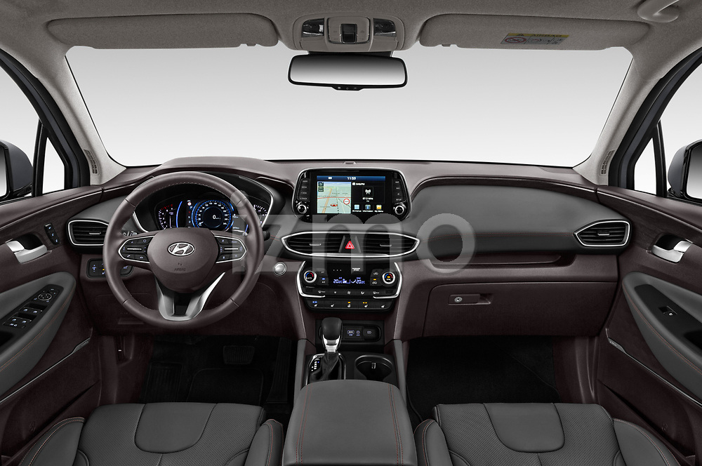 Stock photo of straight dashboard view of a 2019 Hyundai Santa FE Shine 5 Door SUV
