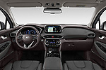 Stock photo of straight dashboard view of a 2019 Hyundai Santa FE Shine 5 Door SUV