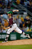 Mississippi State pitcher Evan Mitchell #51 delivers against the LSU Tigers during the NCAA baseball game on March 17, 2012 at Alex Box Stadium in Baton Rouge, Louisiana. The 10th-ranked LSU Tigers beat #21 Mississippi State, 4-3. (Andrew Woolley / Four Seam Images)..