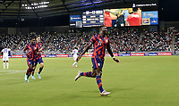 KANSAS CITY, KS - JULY 15: Daryl Dike #11 of the United States scores his goal and celebrates during a game between Martinique and USMNT at Children's Mercy Park on July 15, 2021 in Kansas City, Kansas.