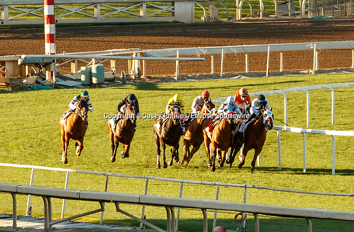 ARCADIA, CA JANUARY 1: The field as they enter the far turn in Joe Hernandez Stakes (Grade ll) on January 1, 2021 at Santa Anita Park in Arcadia, CA.<br /> (Photo by Casey Phillips/EclipseSportswire/CSM)
