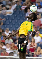 NASHVILLE, TN - JULY 4: Shamar Nicholson #11 heads the ball during a game between Jamaica and USMNT at Nissan Stadium on July 4, 2019 in Nashville, Tennessee.