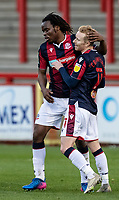 Bolton Wanderers' Ali Crawford (right) celebrates scoring his side's second goal with team mates  <br /> <br /> Photographer Andrew Kearns/CameraSport<br /> <br /> The EFL Sky Bet League Two - Stevenage v Bolton Wanderers - Saturday 21st November 2020 - Lamex Stadium - Stevenage<br /> <br /> World Copyright © 2020 CameraSport. All rights reserved. 43 Linden Ave. Countesthorpe. Leicester. England. LE8 5PG - Tel: +44 (0) 116 277 4147 - admin@camerasport.com - www.camerasport.com