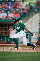 Fort Wayne TinCaps catcher Luis Campusano (4) follows through on a swing during a game against the West Michigan Whitecaps on May 17, 2018 at Parkview Field in Fort Wayne, Indiana.  Fort Wayne defeated West Michigan 7-3.  (Mike Janes/Four Seam Images)