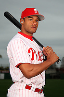 February 24, 2010:  Outfielder Tyson Gillies (70) of the Philadelphia Phillies poses during photo day at Bright House Field in Clearwater, FL.  Photo By Mike Janes/Four Seam Images