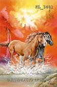 Interlitho, Luis, FANTASY, paintings, 2 brown horses, KL, KL3481,#fantasy# illustrations, pinturas