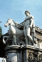 Italy: Rome--one of the Dioscuri. Sculpture at Campidoglio. Photo '82.