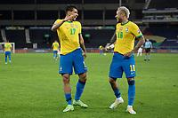 5th July 2021; Nilton Santos Stadium, Rio de Janeiro, Brazil; Copa America, Brazil versus Peru; Lucas Paquetá of Brazil celebrates his goal with Neymar in the 43rd minute 1-0