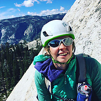 """Pictured: Lucy Foster at Yosemite National Park.<br /> Re: A British climber was killed and his wife seriously injured living their """"big dream"""" on one of the toughest rock faces in the world.<br /> Andrew Foster, 32, and his wife Lucy, 28, were buried under tons of falling rock as they prepared for their climb.<br /> Experienced climber Andrew was killed but Lucy was rescued and airlifted to hospital where she was in a """"critical"""" condition.<br /> The couple were married a year ago and the three-week trip to the Yosemite National Park in California was part of their first wedding anniversary celebrations.<br /> They had ben training for the expedition for six months and flew off to the States on September 11 along with other members of their climbing club.<br /> Andrew and Lucy, from Cardiff, were scouting out a descent of the iconic rockface El Capitan when a """"sheet"""" of granite fell on them.<br /> Rangers on the national park beauty spot said a piece of granite 40 metres by 20 metres fell from a height of 200 metres while the couple were below.<br /> Patagonia, a company owned by Andrew Foster has confirmed the incident."""