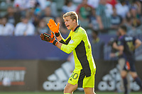 CARSON, CA - JUNE 19: Stefan Cleveland #30 of the Seattle Sounders FC psychs up his backline during a game between Seattle Sounders FC and Los Angeles Galaxy at Dignity Health Sports Park on June 19, 2021 in Carson, California.