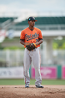 Baltimore Orioles pitcher Luis Perez (74) looks in for the sign during a Florida Instructional League game against the Boston Red Sox on September 21, 2018 at JetBlue Park in Fort Myers, Florida.  (Mike Janes/Four Seam Images)