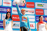 Race leader Davide Rebellin (ITA) CCC Sprandi Polkowice retains the Turquoise Jersey at the end of Stage 5 of the 2015 Presidential Tour of Turkey running 159.9km from Mugla to Pamukkale. 30th April 2015.<br /> Photo: Tour of Turkey/Mario Stiehl/www.newsfile.ie