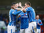 St Johnstone v Kilmarnock...07.11.15  SPFL  McDiarmid Park, Perth<br /> Michael O'Halloran celebrates his goal with Steven MacLean<br /> Picture by Graeme Hart.<br /> Copyright Perthshire Picture Agency<br /> Tel: 01738 623350  Mobile: 07990 594431
