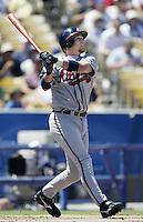 Matt Franco of the Atlanta Braves bats during a 2002 MLB season game against the Los Angeles Dodgers at Dodger Stadium, in Los Angeles, California. (Larry Goren/Four Seam Images)