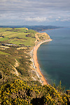 Great Britain, England, Dorset, Seatown: View along Jurassic Coast looking east to Seatown from summit of Golden Cap | Grossbritannien, England, Dorset, Seatown: Blick vom Golden Cap die Jurassic Coast entlang nach Osten