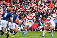 Japan fans look on nervously - Mandatory byline: Rogan Thomson - 23/09/2015 - RUGBY UNION - Kingsholm Stadium - Gloucester, England - Scotland v Japan - Rugby World Cup 2015 Pool B.