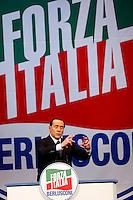 Il leader di Forza Italia Silvio Berlusconi parla alla manifestazione di chiusura della campagna elettorale per le elezioni europee, a Roma, 22 maggio 2014.<br /> Forza Italia Party's leader Silvio Berlusconi speaks during the electoral campaign closing rally for the upcoming European elections, in Rome, 22 May 2014.<br /> UPDATE IMAGES PRESS/Riccardo De Luca