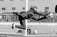 BRADENTON, FL - JANUARY 21: Brady Scott makes the save during a training session at IMG Academy on January 21, 2021 in Bradenton, Florida.