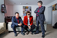 Manic Street Preachers, James Dean Bradfield, Nicky Wire and Sean Moore at their studio in Caerleon, south Wales, UK. Wednesday 28 March 2018
