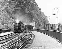 B&O Railroad train crossing bridge at Harpers Ferry, West Virginia.