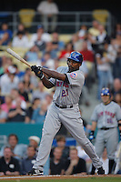 Carlos Delgado of the New York Mets during a game from the 2007 season at Dodger Stadium in Los Angeles, California. (Larry Goren/Four Seam Images)
