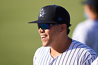 Tampa Tarpons third baseman Andres Chaparro (24) during warmups before a game against the Dunedin Blue Jays on May 7, 2021 at George M. Steinbrenner Field in Tampa, Florida.  (Mike Janes/Four Seam Images)