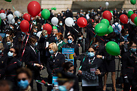 Rome, Italy. 05th May, 2021. Today, Alitalia workers, held a demonstration in Piazza del Popolo to mark the 74th Anniversary of Alitalia which saw its first flight: Torino - Roma - Catania, using an airplane FIAT G-12, on the 5th May 1947. The flag carrier of Italy was founded on the 16th September 1946 as Alitalia - Aerolinee Italiane Internazionali - but recently a plan to dismantle it has been under discussion between Mario Draghi's Italian Government and the European Union (EU - UE). The plan is to make Alitalia as a small and regional airline with a different name - while it is still one of the biggest airport slots owner in the world -, and to lay-off the majority of the workers - about 11,000 - of the Italian historical air company.   <br /> <br /> Footnotes & Links:<br /> Previous Demos:<br /> 23.04.2021 - Alitalia Workers Protest At Rome's Fiumicino Airport https://lucaneve.photoshelter.com/gallery/23-04-2021-Alitalia-Workers-Protest-At-Romes-Fiumicino-Airport/G0000I0vNSqRTV.Q/C0000GPpTqAGd2Gg<br /> 16.04.2021 - Alitalia Workers Protest At Fori Imperiali and Campidoglio https://lucaneve.photoshelter.com/gallery/16-04-2021-Alitalia-Workers-Protest-At-Fori-Imperiali-and-Campidoglio/G0000unf5F2yc0Ts/C0000GPpTqAGd2Gg<br /> 03.03.2021 - Alitalia Workers Protest Outside Italian Ministry Of Transport https://lucaneve.photoshelter.com/gallery/03-03-2021-Alitalia-Workers-Protest-Outside-Italian-Ministry-Of-Transport/G0000JI_TNBKDjz8/C0000GPpTqAGd2Gg