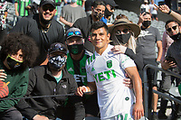 LOS ANGELES, CA - APRIL 17: Nick Lima #24 of Austin FC mingles with fans after the game during a game between Austin FC and Los Angeles FC at Banc of California Stadium on April 17, 2021 in Los Angeles, California.