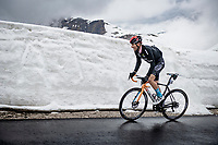Damiano Caruso (ITA/Bahrain - Victorious) coming over the Passo Giau<br /> <br /> due to the bad weather conditions the stage was shortened (on the raceday) to 153km and the Passo Giau became this years Cima Coppi (highest point of the Giro).<br /> <br /> 104th Giro d'Italia 2021 (2.UWT)<br /> Stage 16 from Sacile to Cortina d'Ampezzo (shortened from 212km to 153km)<br /> <br /> ©kramon