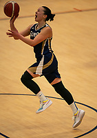 Renee Busch of Sevenoaks Suns shoots on the buzzer during the WBBL Championship match between Sevenoaks Suns and Newcastle Eagles at Surrey Sports Park, Guildford, England on 20 March 2021. Photo by Liam McAvoy
