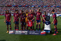 EAST HARTFORD, CT - JULY 5: The USWNT lines up for their starting XI photo during a game between Mexico and USWNT at Rentschler Field on July 5, 2021 in East Hartford, Connecticut.