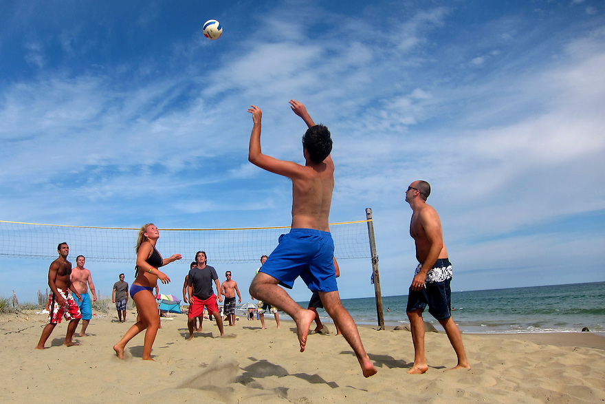 A game of beach volleyball is played on Lucy Vincent Beach in Chilmark on the island of Martha's Vineyard.