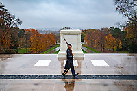 A sentinel from the Old Guard walks the mat at the Tomb of the Unknown Soldier at Arlington National Cemetery, Arlington, Virginia, November 11, 2020. (U.S. Army photo by Elizabeth Fraser / Arlington National Cemetery / released)