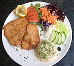Veal Cutlet Dinner, La Porchetta Restaurant, London, city, England, UK, United Kingdom, Great Britain, Europe, European