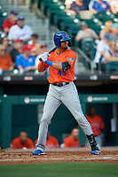 Syracuse Mets Aaron Altherr (43) bats during an International League game against the Buffalo Bisons on June 29, 2019 at Sahlen Field in Buffalo, New York.  Buffalo defeated Syracuse 9-3.  (Mike Janes/Four Seam Images)