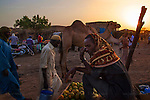 AGADEZ, NIGER — <br /> Camel traders, merchants and livestock sellers gather at the local market in Agadez. <br /> Agadez, is the largest city in central Niger with an estimated population of over 120,000 people. This city, comprised mainly of one-story mud structures, is situated on the southern outskirts of the Sahara desert and has been an important trade center for centuries. Tuareg and Berber tribes have traveled the many commercial routes that run through the desert for more than a thousand years. Today, this city has become one of the largest human smuggling and drug trafficking routes in West Africa. Thousands of migrants attempting to reach Europe are smuggled through the Sahara desert to Libya, Algeria and Morocco in their attempts to reach Italy and Spain.